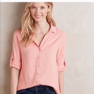 Anthropologie Cloth & Stone Coral Button Down